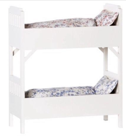 Łóżko piętrowe Maileg białe królik zając lalki
