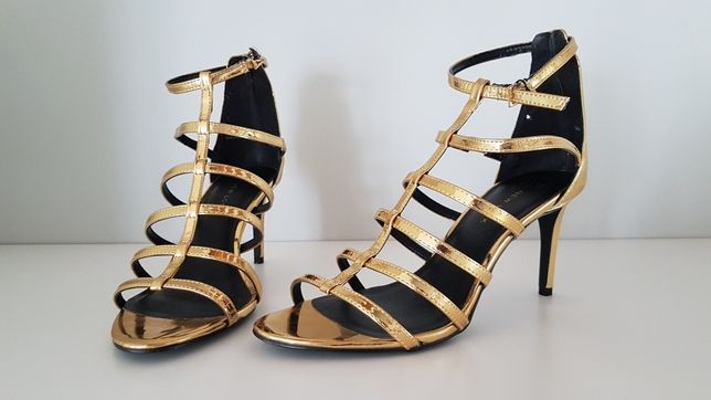 Szpilki sandały złote 40 New look
