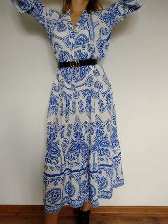 Cudowna długa sukienka włoska 100% Viscosa