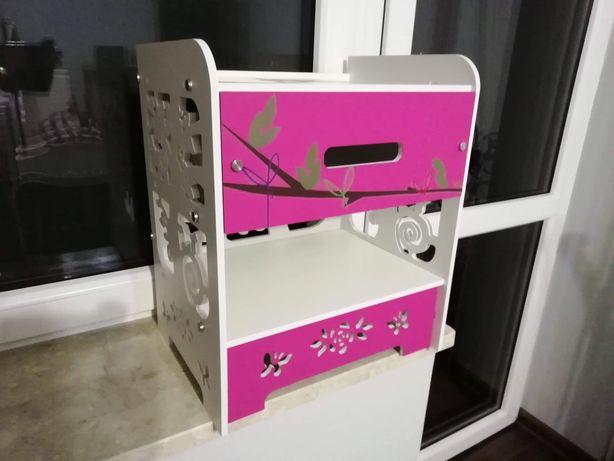 Nakastlik szafka dla dziecka sowa biały różowy