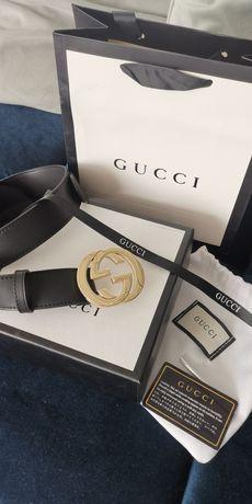 Nowy pasek Gucci czarno-złoty ze skóry 3,8cm
