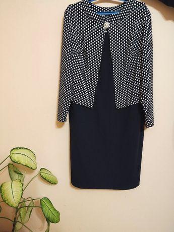 Платье серо-черн