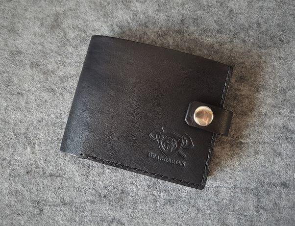 Czarny skórzany portfel męski typu bifold