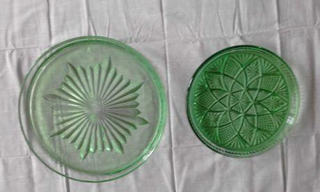 Блюда из зеленого стекла