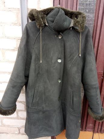 Натуральная женская дубленка темно-зеленая с мехом пальто куртка зима