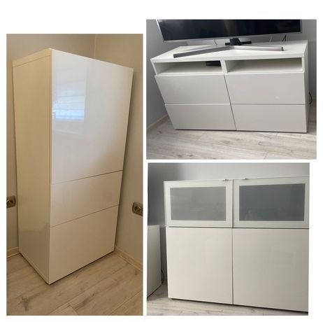 Meble Ikea Besta , białe , 2x komoda, szafka RTV ,