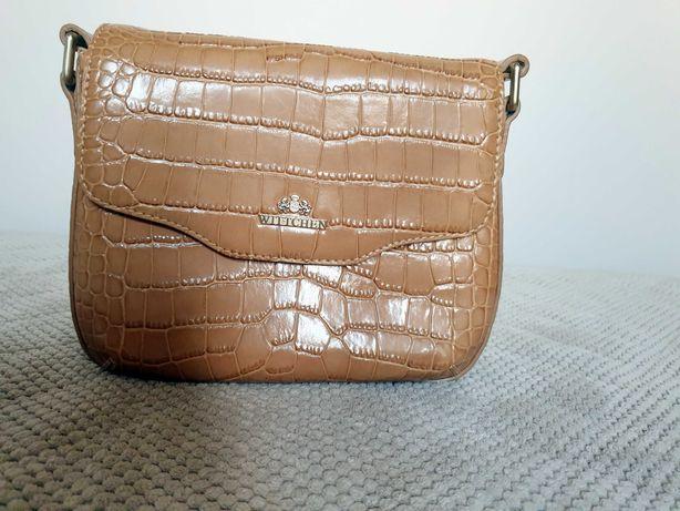 torebka listonoszka ze skóry naturalnej lakierowanej Wittchen beżowa