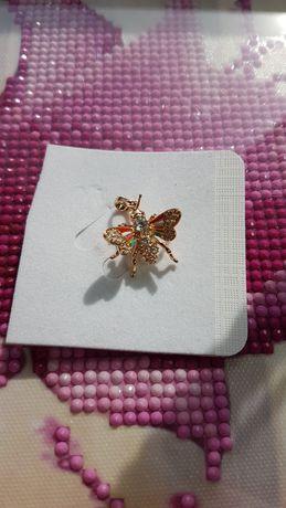 NOWA zawieszka mucha pszczoła wisior stal kolor złoty