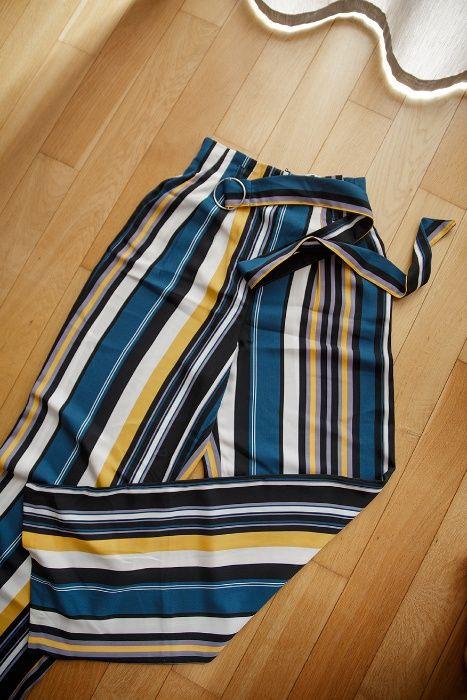 spodnie szerokie nogawki pasy vintage butelkowa zieleń paperbag Gaj - image 1