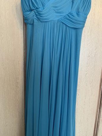 Платье длинное нарядное голубой цвет