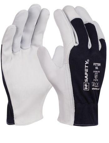 Rękawice skórzano-tekstylne HF Safety rozm 9/L oraz 10/XL