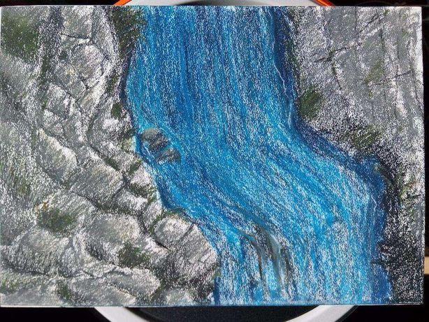 Desenho pintura original de rio paisagem pedras 29,7 x 42 cm