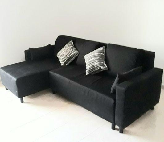 Sofa 3 lugares Preto com Chaise Longue IKEA