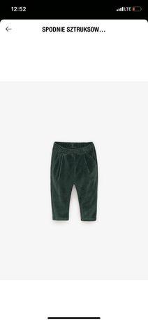Sprzedam spodnie sztruksowe zielen 18-24 92 zara