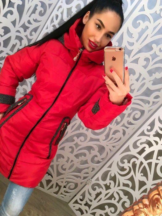 зимняя куртка красного цвета Северодонецк - изображение 1