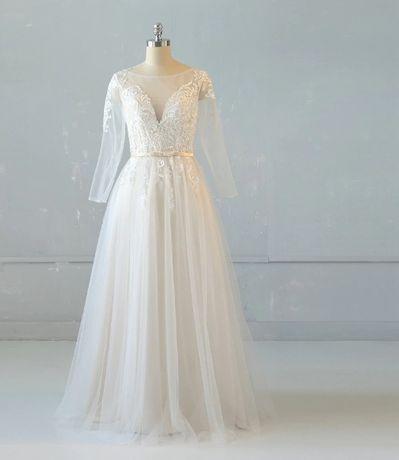 brzoskwiniowa suknia ślubna z długim rękawem r. 38/40 literka A