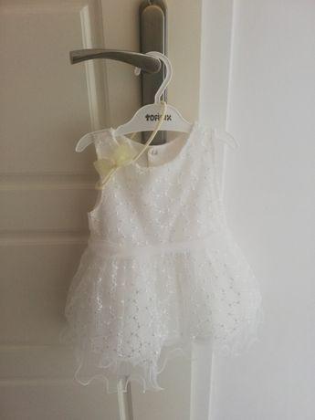Śliczna biała sukienka z opaską 68, na chrzest, wesele, zestaw