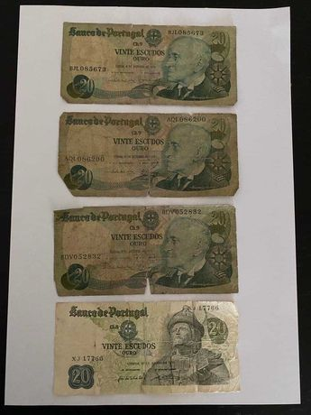 Notas de 20 escudos 1971 e 1978