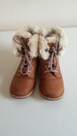 Buty zimowe dziewczęce skórzane