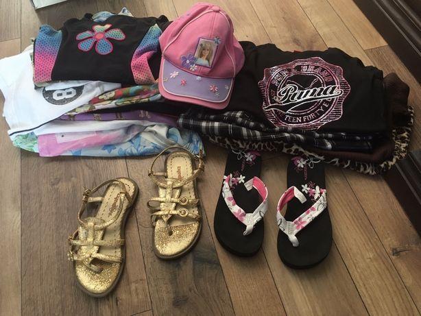 Mega paka ubrań letnich dziewczęce strój kąpiolowy klapki 128 roz Puma