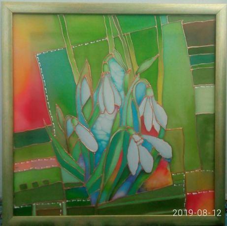 Картина Ландыши витраж холодный батик