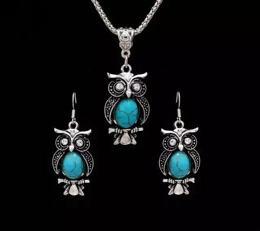 Komplet biżuterii Vintage sowa z turkusem