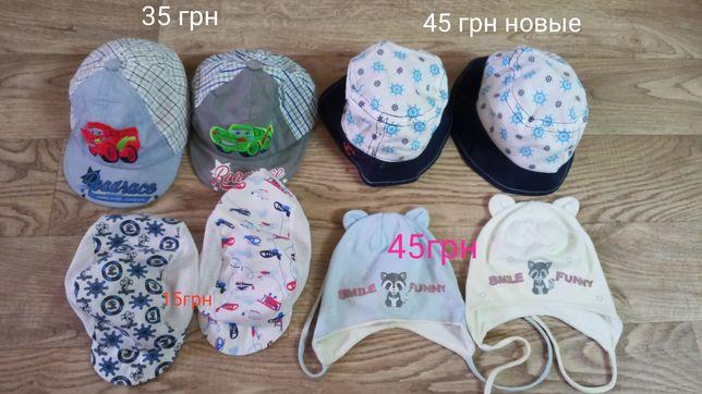 Детские кепки, панамки, шапки на возраст от 6м до 18 месяцев