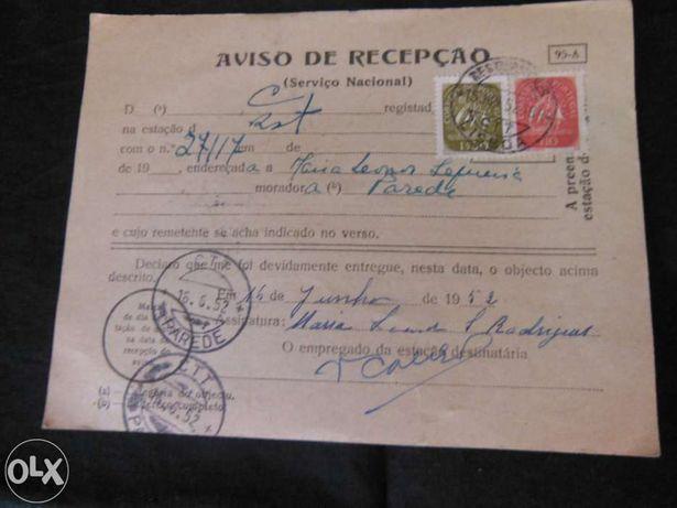 Filatelia-Postal de Aviso de Recepção 1952