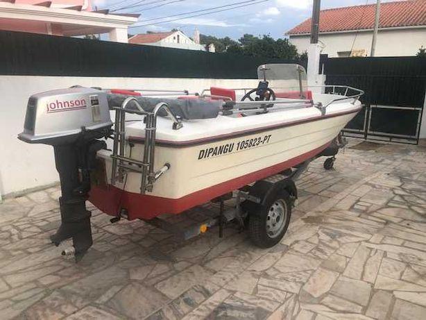 Barco Fibramar + atrelado + bimini em excelente estado