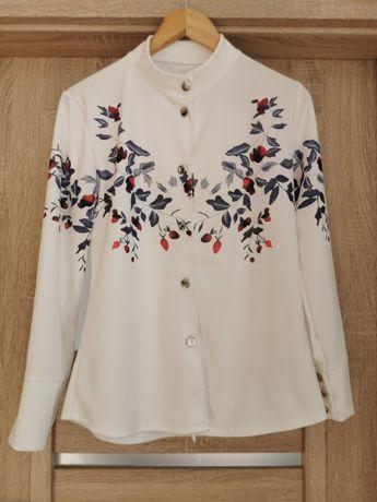 Bluzeczka koszula biała w kwiatki S