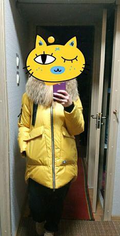 Зимняя куртка люкс качества с натуральным мехом енота