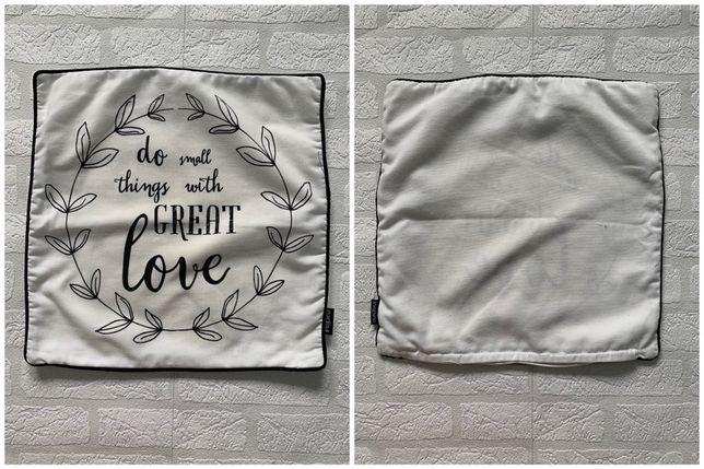 biała POSZEWKA z napisem na poduszkę 40x40 cm