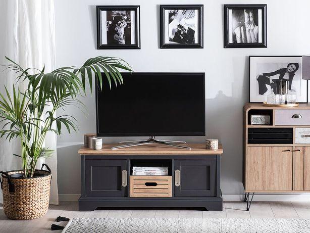 Móvel de TV cinzento e castanho GARET - Beliani