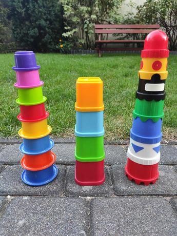 Zabawki do kąpieli i piasku- piramidki edukacyjne- zestaw