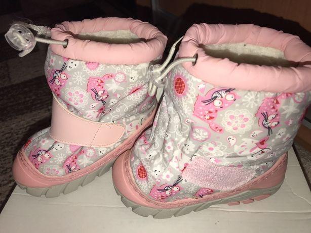 Сапожки для девочки 21-22 сноубутсы - дутики розовые с котиками