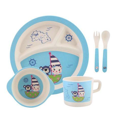 """Посуда детская бамбук """"Мишки"""" 5пр/наб (2тарелки, вилка, ложка, стакан)"""