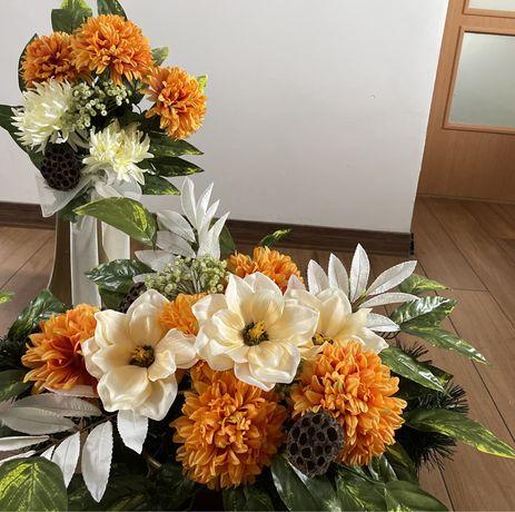 Piękny  duży zestaw stroików na grób cmentarz wiązanka i wazon