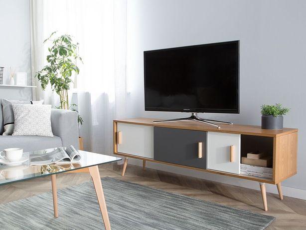 Móvel de TV castanho e branco INDIANA - Beliani