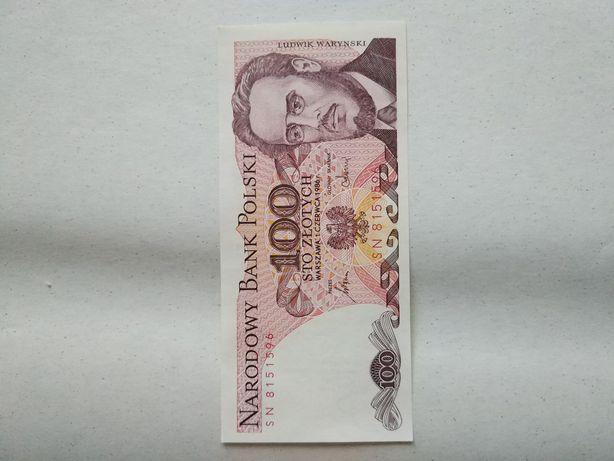 Banknot 100 zł PRL Czerwony