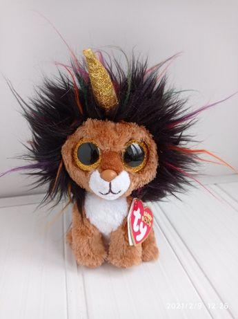 Мягкая игрушка глазастик Beanie Boo's Лев-единорог
