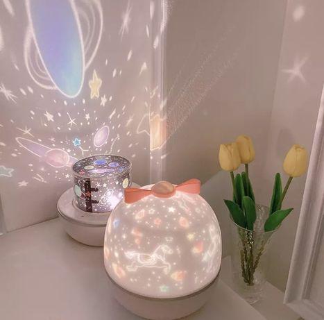 Śliczna lampka, projektor w jednorożce, planety i gwiazdy