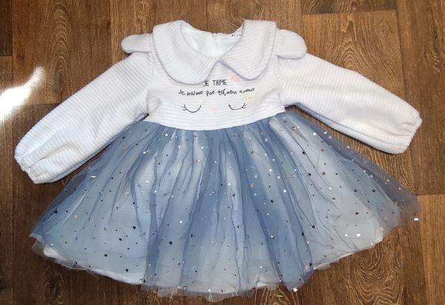 Новогоднее пышное платье 4-5 лет. Теплое платье.