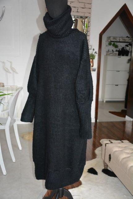 Sukienka r. 42-56 czarna długa maxi midi wełna golf oversize plus size