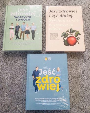 """Zestaw trzech książek Kuchni Lidla""""Jeść zdrowiej"""",NOWE,zafoliowane."""