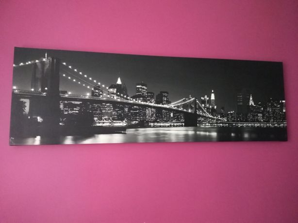 obraz most brookliński brooklyn manhattan czarno-biały