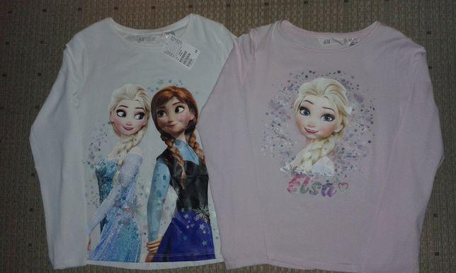 H&M*Bluzki dla dziewczynki,rozm.122/128*Elza i Anna