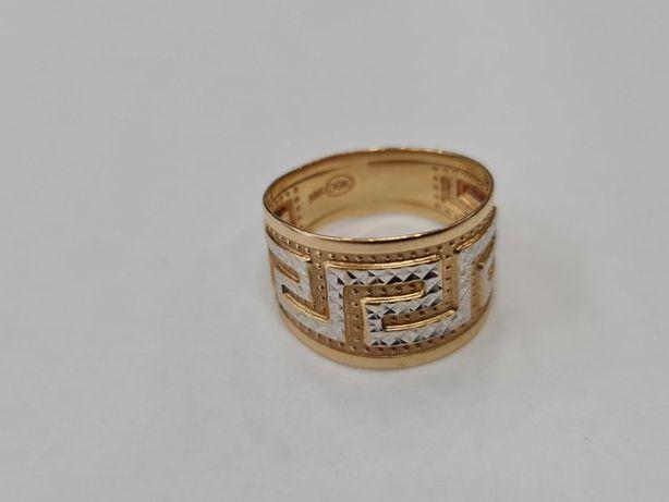 Piękny złoty pierścionek damski/ 585/ 1.88 gram/ R14/ Motyw Grecki