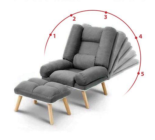 Fotel Uszak Skandynawski LILA Rozkładany Salon z Podnóżkiem Promocja