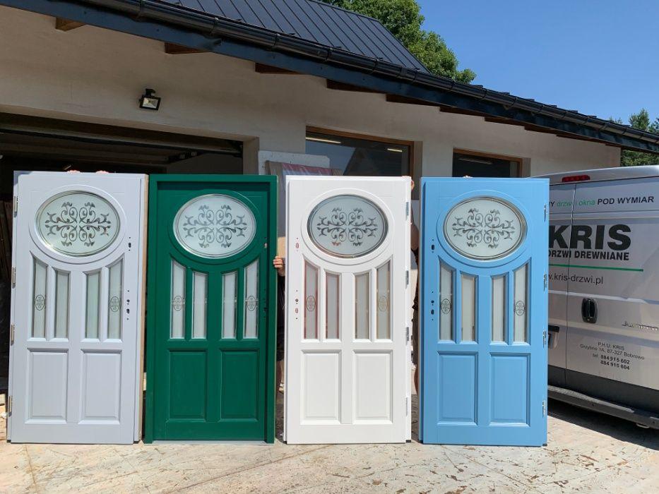 Drzwi Zewnętrzne Angielskie, Białe, Szare,Zielone, KRIS, OD RĘKI