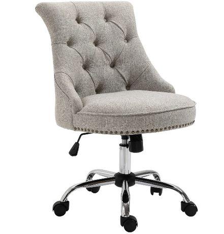 NOWY fotel obrotowy krzesło tapicerowane szare